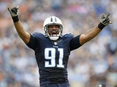 Browns vs. Titans:      October 16, 2016  -  28-26, Titans  -       Titans outside linebacker Derrick Morgan celebrates a play in the second half Sunday against the Browns.  George Walker IV / The Tennessean