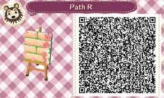 Animal Crossing QR Codes ❤ Manila brick path w/ pink rose border and petals:) TILE#7<-- Right Side Straight