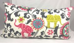 Indoor/Outdoor Pink Elephants Cushion Cover. Multiple Sizes