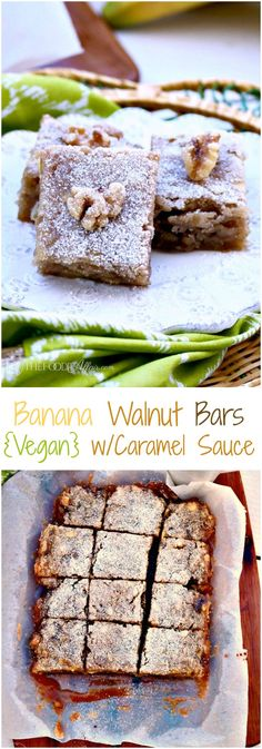 Delicious Vegan Banana Walnut Bars with a caramel sauce baked in the dish! Tasty snack or dessert - The Foodie Affair #vegan #dessert #banana