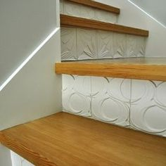 Modern Textured tile on stairs = love.