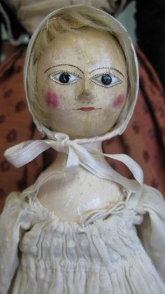 Antique Smaller Late 18thc English Wooden Doll Dressed As a Child