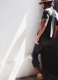 black knit pocket tee