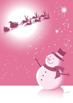 Merry Christmas Colors Time Pink Snowman