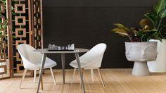 Coco Republic outdoor furnishings: Montego Outdoor Dining Chair $595, Montego Outdoor Dining Table $845, Jonathan Adler Desmond Screen $1,895, Jonathan Adler Dora Maar Planter $1,295, Jonathan Adler Lucite Chess Set $925.