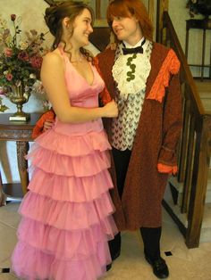 """Rachel and her boyfriend Trevor cosplayed as Hermione and Ron going to the Yule ball... for their own prom!"" by TheDeluxeWar, found via EPBOT"