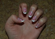 Cherry flower nail art !! Nail design ! French manicure