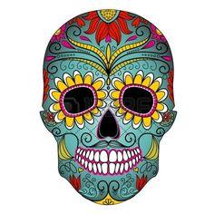 Jour du crâne mort coloré avec ornement floral Banque d'images