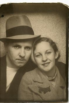 ** Vintage Photo Booth Picture **   Chicago couple but........ gasp!  What I was really drawn to was her fabulous Scotty Bakelite pin!