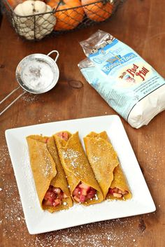 Gluten-Free Pumpkin Crepes with Warm Apple Filling (crepes are the most forgiving of just about any GF recipe you can make, so substitute any GF blend or starch for the bob's blend)