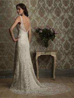 Trumpet/Mermaid V-neck Flower Lace Chapel Train Wedding Dress at Millybridal.com