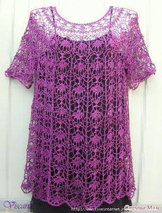 Da uno schema di una maglietta all'uncinetto, è stato ricavato un abito o tunica! Che ne dite?