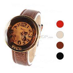 Lederband Damen elektronische Armbanduhr mit Schmuckstein -Katze Muster