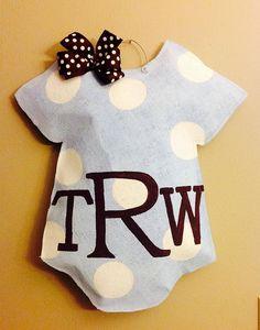 Welcome Baby Burlap Door hanger-personalized baby boy monogram