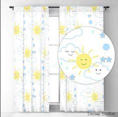Nursery Curtains, Baby Nursery Decor, Exterior Design, Interior And Exterior, Happy Sun, Star Cloud, Rain Clouds, Sheer Curtains, Handmade Home Decor