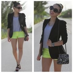 Neon shorts and blazer Neon Shorts, Love Her Style, Colourful Outfits, Material Girls, Zara Black, Business Fashion, Fashion Outfits, Womens Fashion, Everyday Outfits