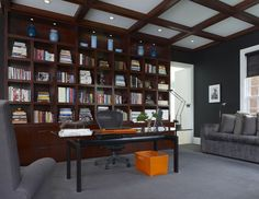 Library Wall Unit - contemporary - home office - detroit - EuroCraft Interiors Custom Cabinetry