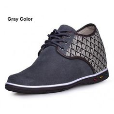 Gray Suede Leather casual style height increasing elevator Shoes 2.75inchs/7cm taller