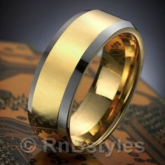 Stunning Mens Tungsten Ring Two Tone Wedding Band 8mm Gold | RnBJewellery