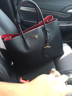 My double colour Prada bag in black and red #Handbags