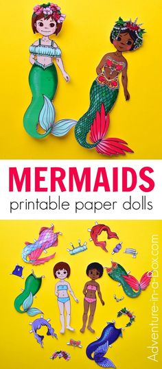 Make mermaid paper dolls from our printable templates! It's the perfect easy craft for a mermaid party - everyone can cut their own paper mermaid. #papercrafts #mermaids #kidscrafts #printable