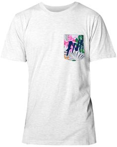Tropical Pocket T; AOII on the pocket, seniors 2014 on the back in the same font
