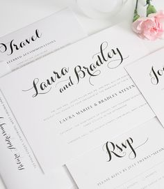 Elegant wedding invitation suite with script names.  #rustic #chic http://www.shineweddinginvitations.com/wedding-invitations/romantic-script-wedding-invitations
