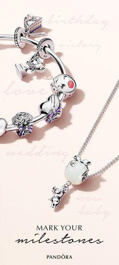 Mark your next milestone with beautiful hand-crafted charms. Pandora Bracelets, Pandora Jewelry, Pandora Charms, Jewelry Box, Jewelry Making, Jewellery Diy, Large Hole Beads, Diamond Gemstone, Shopping Hacks