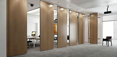 Rolling Wall - movable partition certified of insonorisation - Single truck or double truck. Rolling Wall is the movable partition Arcadia. Movable Walls, Multipurpose Furniture, Folding Walls, Office Interiors, Function Room, Office Partitions Wall, Office Partition, Folding Doors, Office Design
