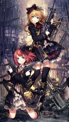 Girl anime with gun