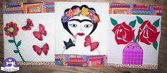 Minha versão Frida de trilho de mesa ou Panô, patchapliquê, e quilt