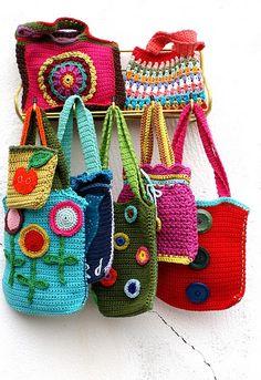 How to crochet simple bags patterns tutorials diy ~ Crochet Knit Tote Bags Back Packs Hobo Bags Purse Handbags
