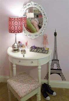 This would be perfect for a Paris themed room! Bedroom Themes, Kids Bedroom, Bedroom Decor, Bedroom Ideas, Bedrooms, Girls Paris Bedroom, 6 Year Old Girl Bedroom, Trendy Bedroom, Bedroom Designs