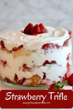 No-bake, make-ahead Strawberry Trifle with Angel Food Cake recipe with fresh juicy strawberries, creamy whipped cream, and heavenly angel food cake is an easy, elegant and delicious dessert and makes a sweet ending to any meal #desserts, #dessertrecipes, #easydesserts, #nobakedesserts, #strawberries, #strawberryrecipes, #trifle Strawberry Angel Food Cake, Strawberry Trifle, Strawberry Recipes, Angle Food Cake Dessert, Angle Food Cake Recipes, Trifle Dish, Köstliche Desserts, Dessert Recipes, Trifle Recipe