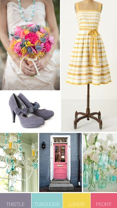thistle gray, turquoise blue, lemon yellow and peony pink