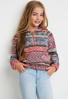 Girls Abstract Print Hooded Pullover (Kids) | Forever 21 girls - 2000142617