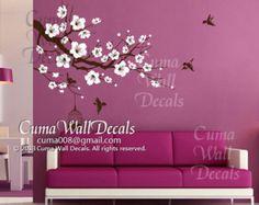 flower wall decal tree wall decals flower vinyl wall by cuma