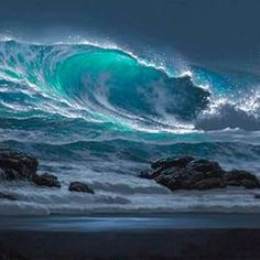 Breaking Surge – Carol Sutton – join in the world of pin Water Waves, Sea Waves, Sea And Ocean, Ocean Beach, Ocean Sunset, Seascape Paintings, Landscape Paintings, Landscapes, Ocean Scenes