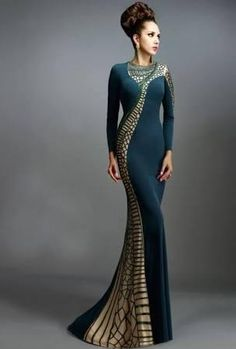 Emerald Sheath Mother Of The Bride Dresses Latest 2015 Crew Neckline Long Sleeves Zipper Back Fomal Evening Gowns Floor Length Janique K6477 - Brought to you by Avarsha.com
