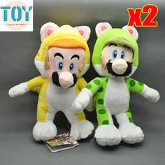 "Find More Movies & TV Information about New 2 PCS Super Mario Bros Cat Mario Luigi 3D World 7"" Anime Brinquedos Soft Peluches Plush Doll Kids Toys Juguetes Green Yellow,High Quality doll short,China toy lathe Suppliers, Cheap toy sniper rifle guns from Toys in the Kingdom on Aliexpress.com"