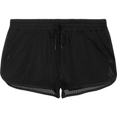 IVY PARK Perforated stretch-jersey shorts ($43) ❤ liked on Polyvore featuring activewear, activewear shorts, shorts, bottoms, ivy park, black and stretch jersey