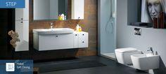 Step   Perfekt ergänzt werden die Waschtische durch die modulare Möbelkollektion Step von Franco Bertoli, die der gleichen Philosophie von Harmonie und Funktionalität im Badezimmer folgt. Sie bietet Unterschränke für Möbel und Aufsatzwaschtische sowie Seitenschränke, die miteinander kombiniert werden können. Die hochwertigen Möbel zeichnen sich zudem durch verschiedene funktionale Accessoires wie Handtuchhalter, Auszugelement mit Kosmetiktücherbox, Spiegel und Glasablagen aus. Bidet, Bad Inspiration, Bathtub, Interior Design, Mirror, Furniture, Home Decor, Bathroom Ideas, Bathrooms