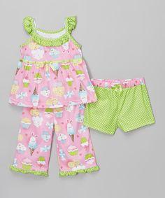 This Candlesticks Pink & Green Sweet Treat Dot Pajama Set - Toddler & Girls by Candlesticks is perfect! #zulilyfinds
