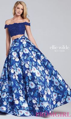 d18fea6a42 Lace Bodice Off-the-Shoulder Long Print Skirt Prom Dress