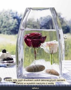 Różana dekoracja - Ścięte róże owiń drucikiem wokół dekoracyjnych kamieni. Zanurz w wysokim naczyniu z wodą.