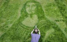 3D Art Expert Chris created Mona Lisa on his client's lawn. He just used some basic garden tools and a lawnmower to do so. After two days, Mona Lisa came to life!