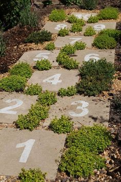 Hopscotch pavers in the garden – how cute is that! …. making a paver path from our patio to the kids playset so kids wouldnt have to walk in...