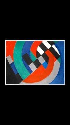 """. Sonia Delaunay - """" Rythme coloré """", 1957 - Huile sur toile - 97,4 x 130 cm. (*) (-)"""