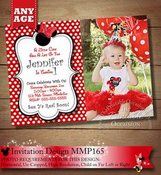 Red Minnie Mouse Birthday Invitation Photo