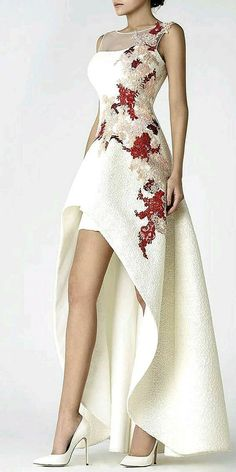 Short Wedding Dresses : White high-low evening dress with red and beige embroidery and sheer detail High Low Evening Dresses, Evening Gowns, Elegant Dresses, Pretty Dresses, Prom Dresses, Formal Dresses, Wedding Dresses, Bridesmaid Dresses, Formal Shoes
